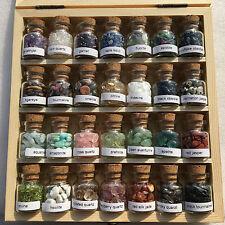28 Mini Gemstone Bottles Chip Crystal Healing Tumbled Gem Reiki Wicca Stones Set