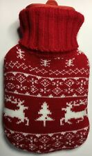 Mini Rubber Hot Water Bottle ~ 24x14cm ~ Reindeer & Xmas Tree Knitted Cover  NEW