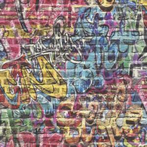 Rasch 3D Effect Graffiti Brick Spray Paint Multi Coloured Wallpaper 213201