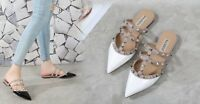 Calfskin Leather Caged Studs Patent Leather Flat Slides Sandals Shoes 37 - 41