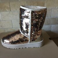 UGG Classic Short Gold Sparkles Sequin Sheepskin Boots Size US 9 Womens