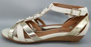 Ladies Clarks Bianca Shade Wedge Heeled Leather Sandals size 6D