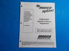 1996 Manco Machine Offroad Vehicle Fun-Kart Operators Manual Supplement