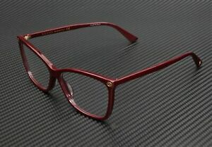 GUCCI GG0025O 007 Round Oval Burgundy Demo Lens 56 mm Women's Eyeglasses