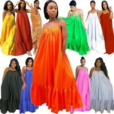 Women Plus Size Sleeveless Ball Gown Sexy Party Maxi Dress Loose Swing Dresses