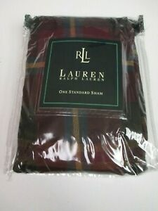 New Ralph Lauren BRIANNA Plaid Checked Burgundy Standard Sham