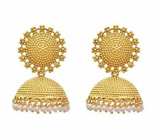 Shourya Exports 18K Gold Plated Pearl Jhumki Jhumka Womens Girls Earrings 2p Set