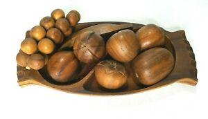 Wooden Fruit Bowl Set Vintage 9 Pieces Midcentury Modern Monkey Pod?
