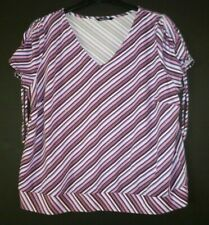 Evans Essecnce Striped Top Size 20 Black Pink Purple White