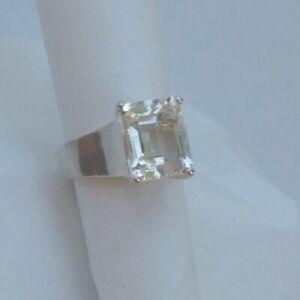 Art Deco modern wide band Goshenite Beryl gemstone ring. Sophisticated!