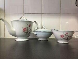 1920s Vintage Noritake RC Japan Tea Pot Sugar Milk Trio Pink Roses VG Condition