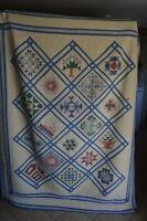 Vintage Quilt Friendship Scrap Farmhouse Decor EUC Bed Fall Harvest Country US