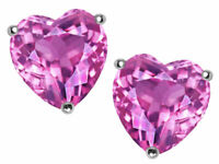 2 ct. Heart Pink Sapphire Stud Earrings in Sterling Silver ~ October Birthstone
