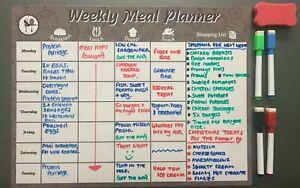 GREY Magnetic Fridge Big Weekly Meal Planner Drywipe A3 White Notice Board Pen