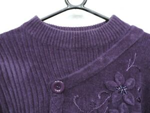 Reflect Knitwear Purple Jumper Floral Design Long Sleeve Size L/XL