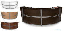 White Walnut Maple Cherry DOUBLE UNIT ROUNDED RECEPTION DESK Silver Metal Trim