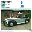HUMBER PULLMAN 1953 1954 CAR VOITURE Great Britain GRANDE BRETAGNE CARD FICHE