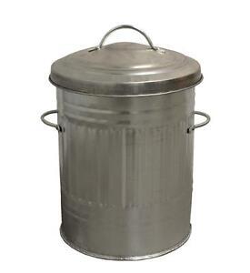 30L Litre Galvanised Metal Bin Rubbish Waste Dustbin Animal Feed Storage SILVER