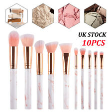 UK Marbling Kabuki Make up Brush Set Brushes Blusher Face Powder 10Pack Pink New