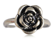 Silver Tone Petite Antique Finish Carved Rose Flower Adj Fashion Ring