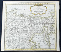 1750 Bellin Original Antique Map of Eastern Russia & Siberia, Kamchatka, China