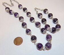 Purple Amethyst Stone Bead Necklace & Bracelet Set, Fancy Silver Tone Bead Caps