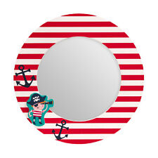 Pirate Design Round Wall Mirror MDF/Glass Material Children Room Home Decor New