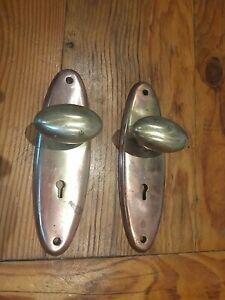 1930s Reclaimed Brass Door Handles FREE UK DELIVERY
