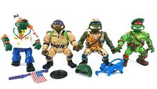 Vtg 1991 TMNT Mutant Military Mike Raph Don Leo Figure Lot w/ Accessories Clean