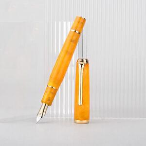 Hongdian N1 Acrylic Orange Fountain Pen Resin Retro Nebula EF 0.4mm Ink Gift Pen
