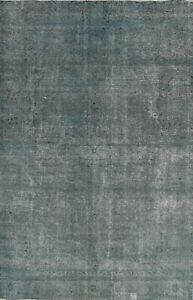 Antique Overdyed Tebriz Distressed Hand-knotted Area Rug Evenly Low Pile 7'x10'
