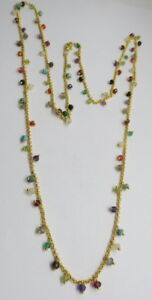 """Gemstone Beaded Chain Necklace Mix Stone Cluster Chain 24 k Gold Plated 25"""" Long"""
