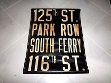 VINTAGE 1948 NYC MACK BUS SIGN MANHATTAN ROLL SIGN PARK ROW SOUTH FERRY NY 125