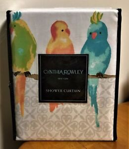 CYNTHIA ROWLEY Parakeets Birds Yellow, Green, Aqua, Teal Fabric Shower Curtain