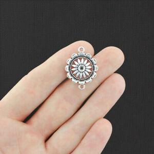 10 Flower Connector Antique Silver Tone Charms - SC6657