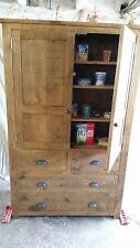 A REAL SOLID WOODEN CUPBOARD UNIT SIDEBOARD CHUNKY RUSTIC PLANK INDIGO FURNITURE