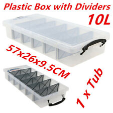 10L Clear Plastic Storage Box with Removable Dividers Containers Bin Tubs CP
