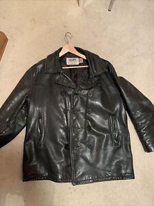 Schott 740N Leather Pea Coat Jacket 46 Black Good condition