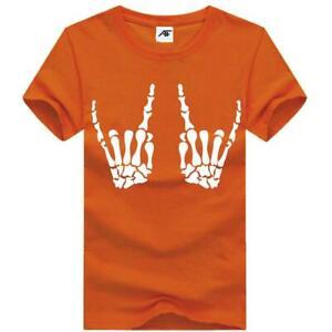 Womens Bones Hand Printed T Shirt Short Sleeve Crew Neck Halloween Party Top