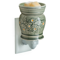 Flowered Jade Green Wax Tart Oil Warmer, Electric, Plug-in, Melter, New, Flowers