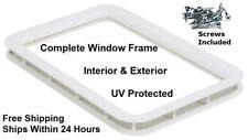 White RV Camper Trailer Entry / Entrance Door Window Frame Interior & Exterior