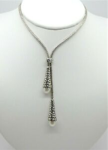 Samuel B Sterling Bali Weave Necklace with 2 Dangling Pearls