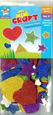 Children Kids Foam Glitter Heart Star Shapes Stickers Art Craft Self Adhesive