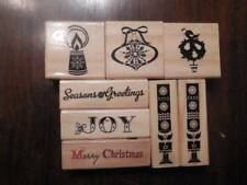 Wood Block Rubber Stamps Christmas:Tree,Candle,Bell,Joy,etc..8 Lot