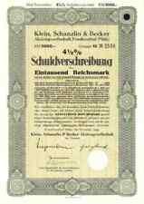KSB Klein Schanzlin Becker 1943 Frankenthal AMAG Hilpert Pegnitz 1000 RM Anleihe
