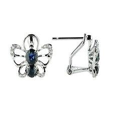 NATURAL FINE 14K WHITE GOLD DIAMOND BLUE SAPPHIRE BUTTERFLY EARRINGS