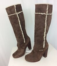 Nine West Vintage America Women's 10 M Suede Shearling Knee High Tall Heel Boots