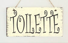 "Hand Made French Shabby "" Toilette "" Hanging Sign Plaque Distressed Toilet Chic"