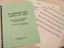 APPALACHIAN HYMN My Shepherd Will Supply My Need - VOICE, HARP, RECORDER, Swope
