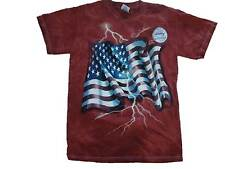 AMERICAN FLAG T SHIRT LIGHTNING  SMALL RED NEW